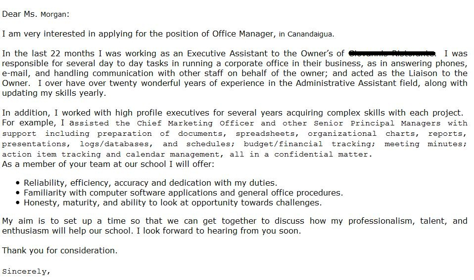 Email Cover Letters Image Result For Administrative Assistant