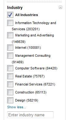 Linkedin advanced search industry