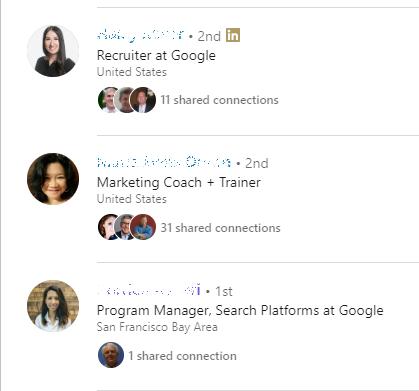 Google employees LinkedIn