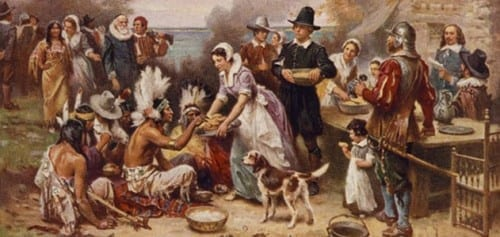 The Pilgrims celebrated a harvest festival with their Native American neighbors in 1621—what we often call the first Thanksgiving. (The Foundation Press, Inc.)