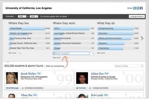 LI alumni tool screen shot by LinkedIn