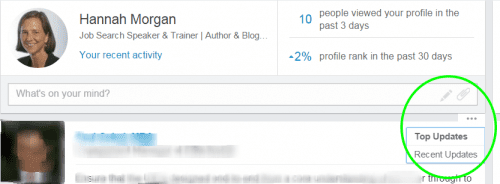 LinkedIn feed priority