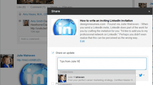 sharing and tagging update on LinkedIn