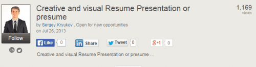 Creative Visual Resume on SlideShare