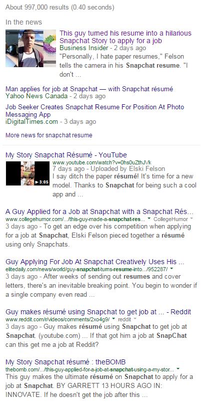 Snapchat resume