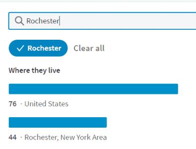 New LinkedIn alumni search by city