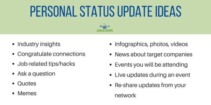 Personal Status Update Ideas