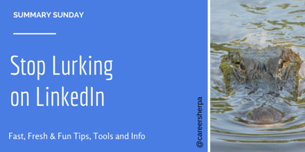 Summary Sunday- Stop Lurking on LinkedIn @careersherpa