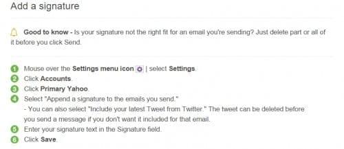 yahoo email signature help