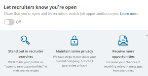 linkedin let recruiters know