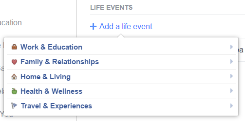 Life events Facebook