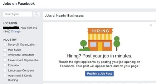 jobs on Facebook