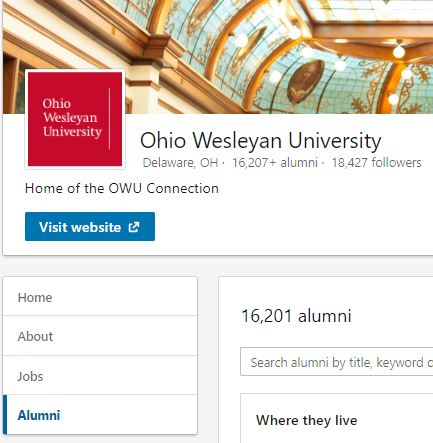 LinkedIn alumni page