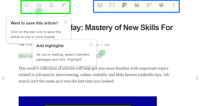 feedly article options