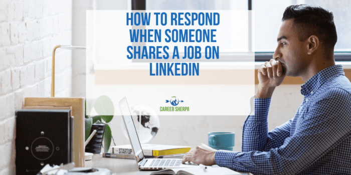 respond to job shared on LinkedIn