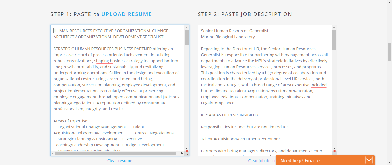 easily match your resume to the job posting