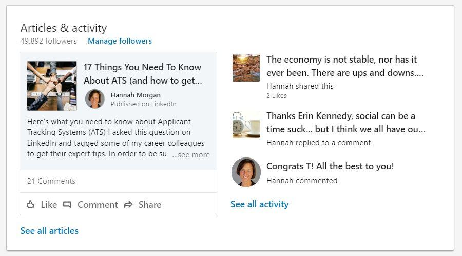 LinkedIn activity and posts