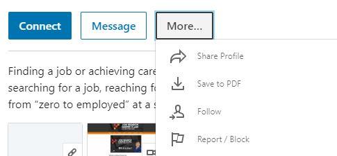 LinkedIn follow option