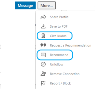 LinkedIn give kudos recommend