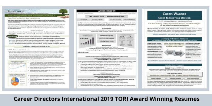 modern resume samples CDI TORI 2019 award winners