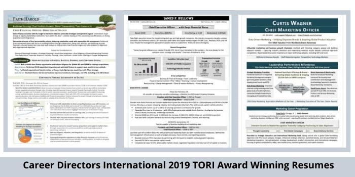 modern resume samples CDI TORI 2019 award winners