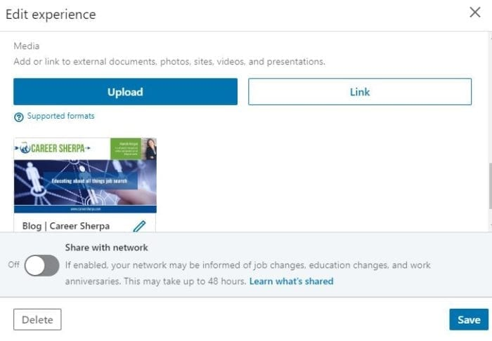 embed files or links in LinkedIn experience section