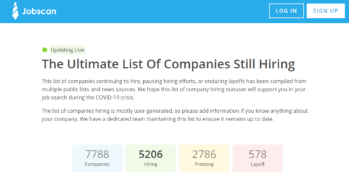 Jobscan Ultimate List of companies still hiring