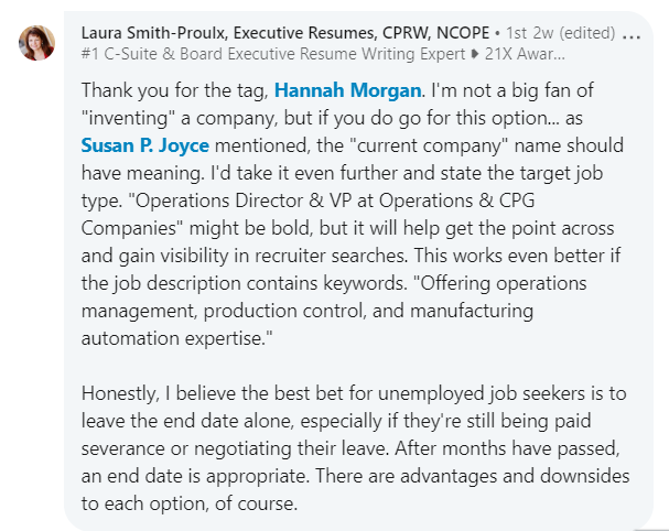 Laura Smith-Proulx LinkedIn title and employer advice