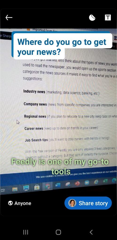 create LinkedIn story