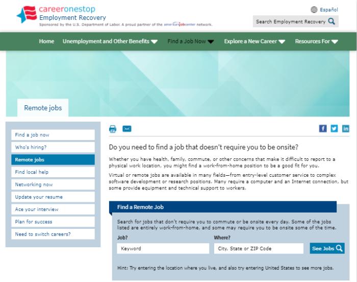 Remote Jobs CareerOneStop.org