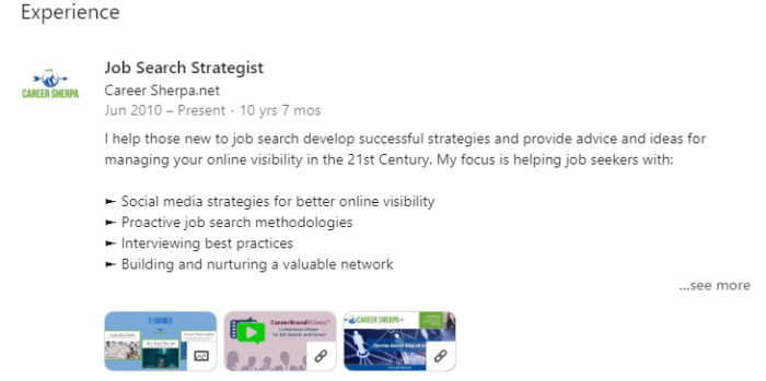 LinkedIn Experience section