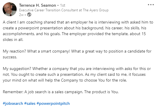 Terrence Seamon post about client presentation during job interview