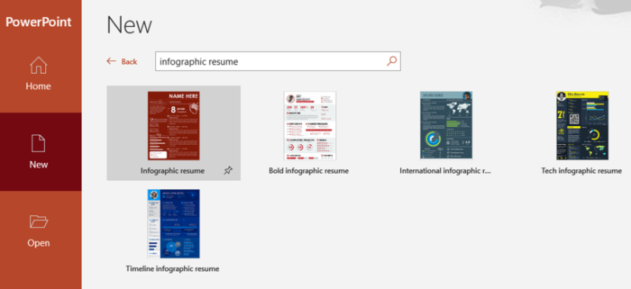 PowerPoint infographic resume templates