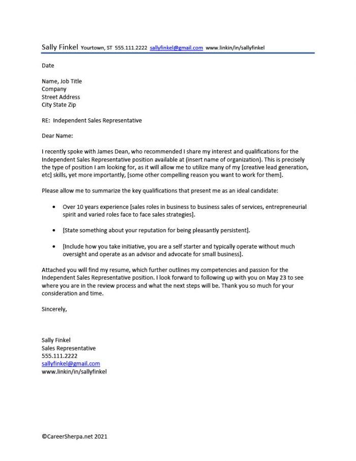 Sample cover letter - careersherpa