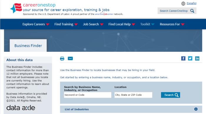CareerOneStop Business Finder