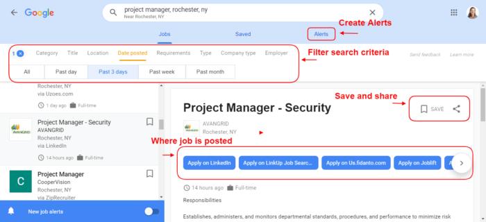 Screenshot of Google's job search engine