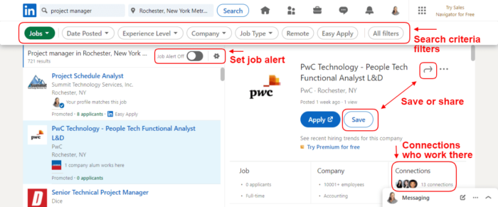 Features of the LinkedIn job search website